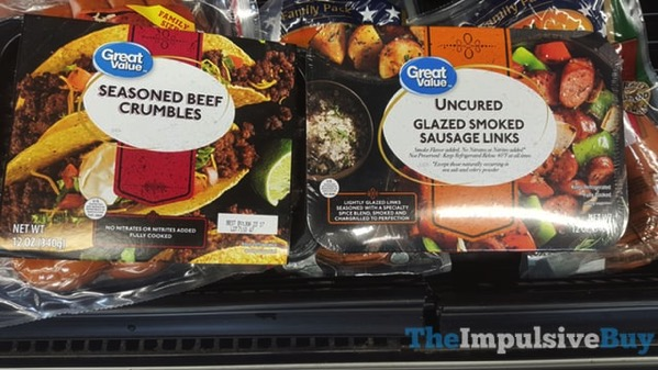 Great Value Seasoned Beef Crumbles and Uncured Glazed Smoked Sausage Links