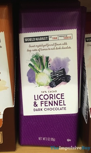 World Market Licorice  Fennel Dark Chocolate Bar