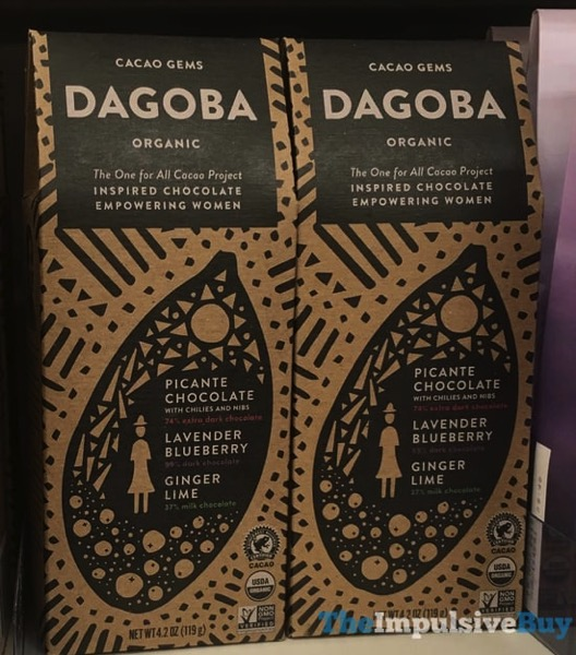 Dagoba Cacao Gems  Picante Chocolate Lavender Blueberry and Ginger Lime