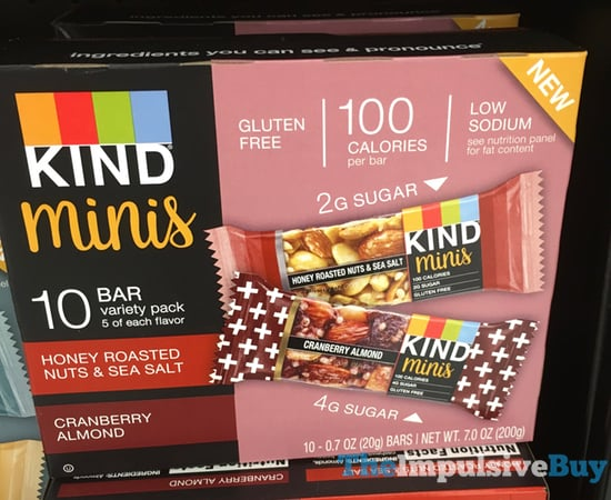 Kind Minis  Honey Roasted Nuts  Sea Salt and Cranberry Almond