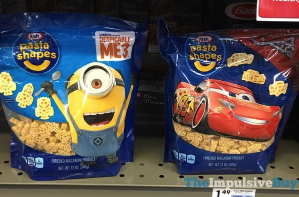 Kraft Despicable Me 3 and Cars 3 Pasta Shapes