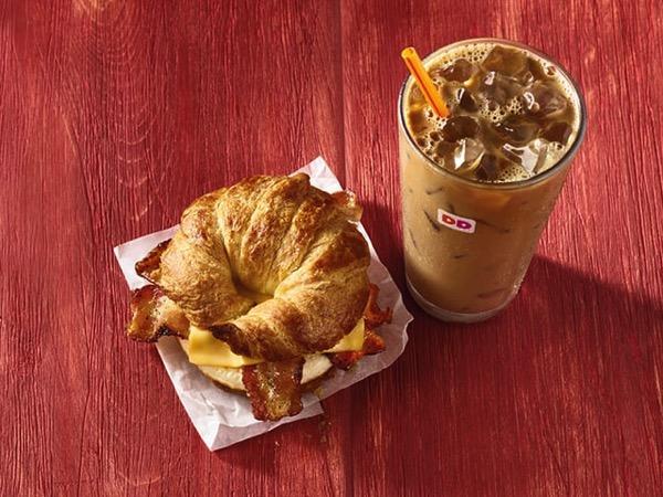 Dunkin Maple Pecan Iced Coffee+and+Maple+Sugar+Bacon Sandwich