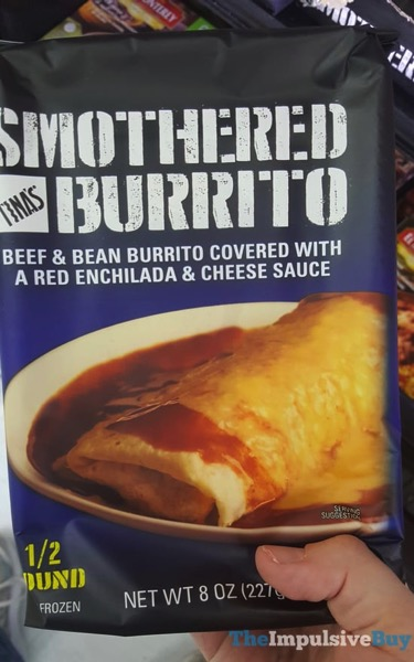 Tina s Smothered Burrito Beef  Bean Burrito Covered with a Red Enchilada  Cheese Sauce