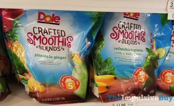 Dole Crafted Smoothie Blends  Pineapple Ginger and Refreshing Greens