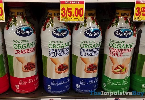 Ocean Spray 100 Juice Organic  Cranberry Cranberry Blueberry and Cranberry Apple