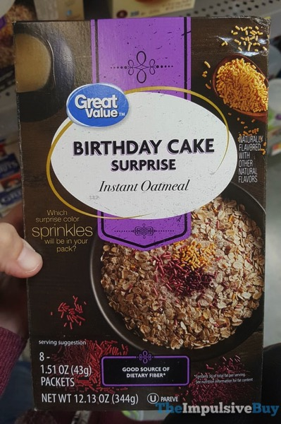 Great Value Birthday Cake Surprise Instant Oatmeal