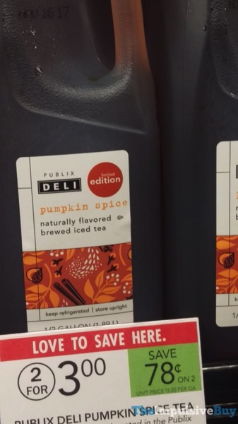 Publix Deli Limited Edition Pumpkin Spice Tea