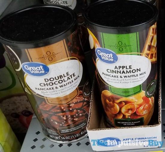 Great Value Double Chocolate and Apple Cinnamon Panacke  Waffle Mixes