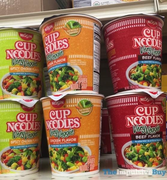 Nissin Cup Noodles Very Veggie  Spicy Chicken Chicken and Beef