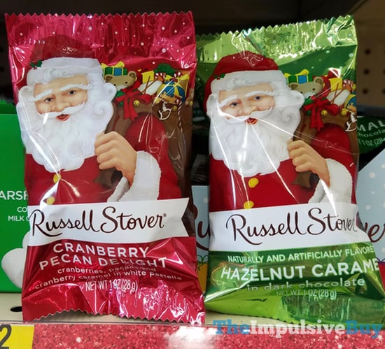 Russell Stover Cranberry Pecan Delight and Hazelnut Caramel Dark Chocolate Santas
