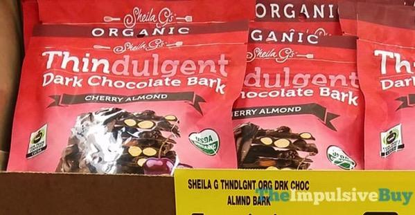 Sheila G s Organic Thindulgent Cherry Almond Dark Chocolate Bark