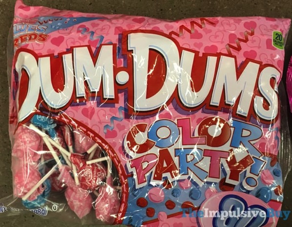 Dum Dums Color Party Pinks Blues Reds