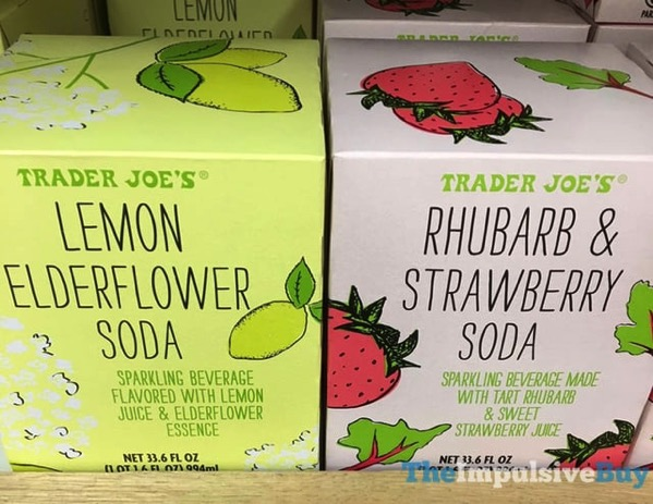 Trader Joe s Lemon Edlerflower and Rhubarb  Strawberry Soda