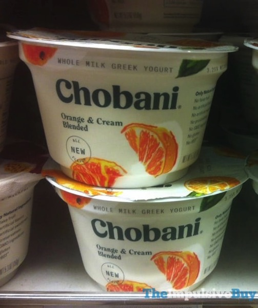 Chobani Orange  Cream Blended Whole Milk Green Yogurt