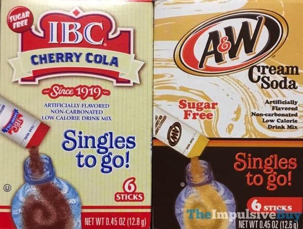 IBC Cherry Cola and A W Cream Soda Singles to Go