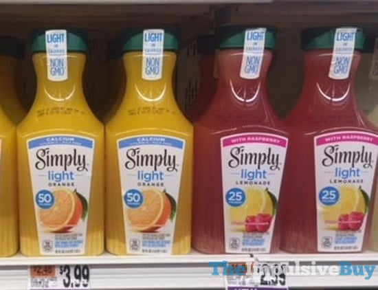 Simply Light Orange Juice with Calcium and Lemonade with Raspberry