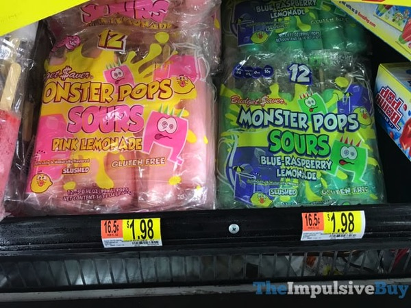Budget Saver Monster Pops Sours Pink Lemonade and Blue Raspberry Lemonade