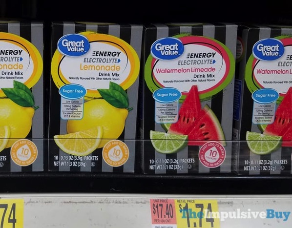 Great Value Energy Electrolyte Lemonade and Watermelon Limeade Drink Mixes