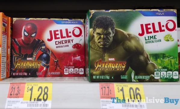 Marvel Avengers Infinity War Jello Spider Man Cherry and Hulk Lime Gelatin Mixes