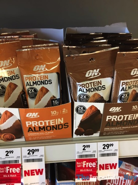 Optimum Nutrition Protein Almonds  Cinnamon Roll and Dark Chocolate Truffle
