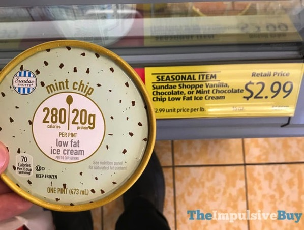 ALDI Sundae Shoppe Mint Chip Low Fat Ice Cream