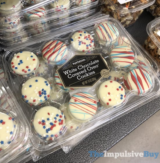 Marketside Stars and Stripes White Chocolate Covered Oreo Cookies