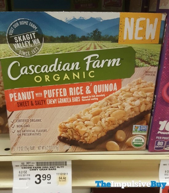 Cascadian Farm Peanut with Puffed Rice  Quinoa Sweet  Salty Chewy Granola Bars