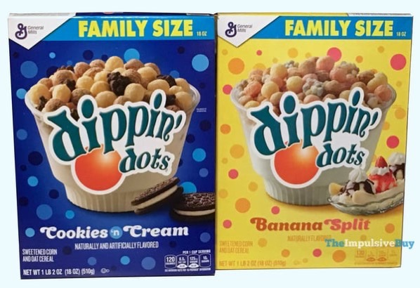 General Mills Dippin Dots Cereal  Cookies  N Cream and Banana Split