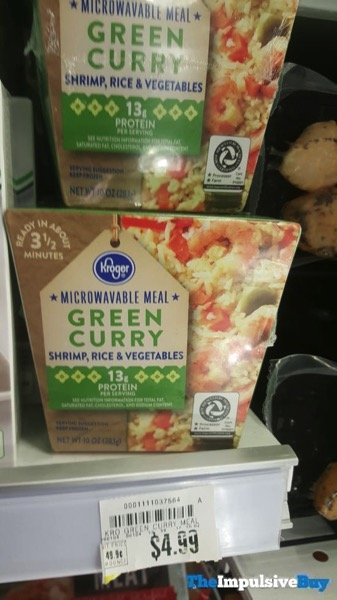 Kroger Microwavable Meal Green Curry Shrimp Rice  Vegetables