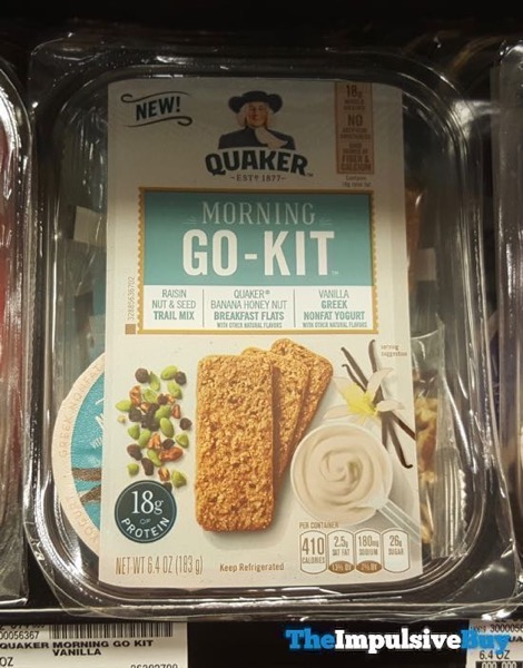 Quaker Morning Go Kit Raisin Nut  Seed Trail Mix Banana Honey Nut Breakfast Flats and Vanilla Greek Yogurt