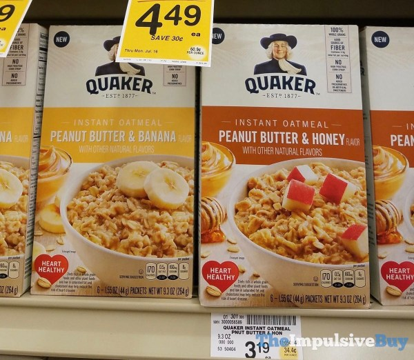 Quaker Peanut Butter  Banana  and Peanut Butter  Honey Instant Oatmeal