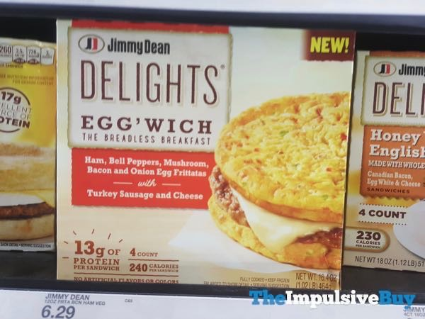 Jimmy Dean Delights Egg wich Ham Bell Peppers Mushroom Bacon and Onion Egg Frittatas with Turkey Sausage and Cheese