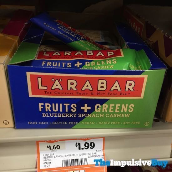 Larabar Fruits + Greens Blueberry Spinach Cashew Bars