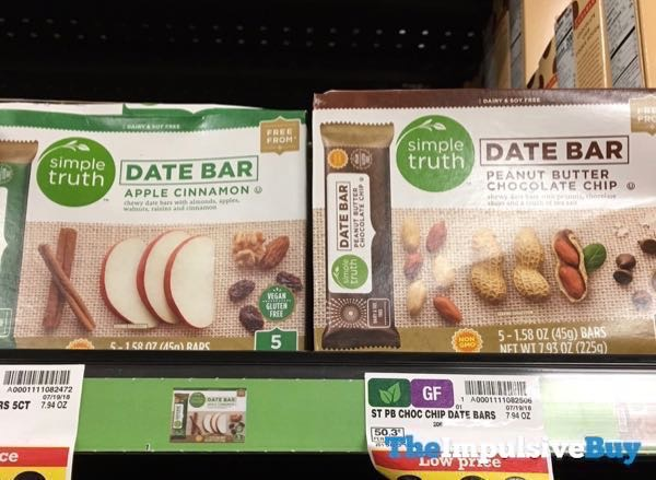 Simple Truth Date Bar  Apple Cinnamon and Peanut Butter Chocolate Chip