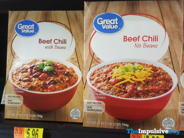 Great Value Beef Chili with Beans and Beef Chili with No Beans