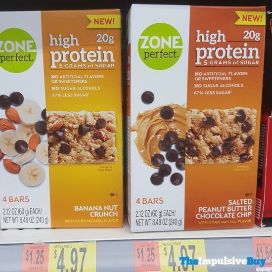 Zone Perfect High Protein Bars Banana Nut Crunch And Salted Peanut Butter Chocolate Chip