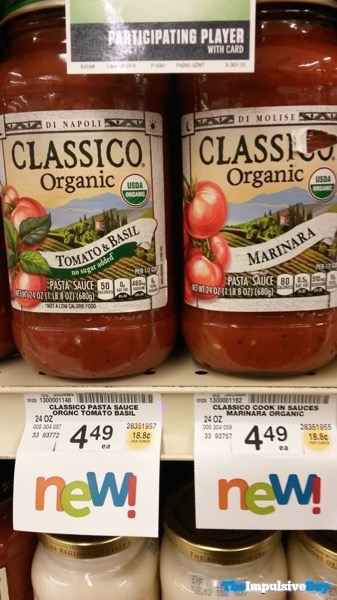 Classico Organic Tomato  Basil and Marinara Pasta Sauces