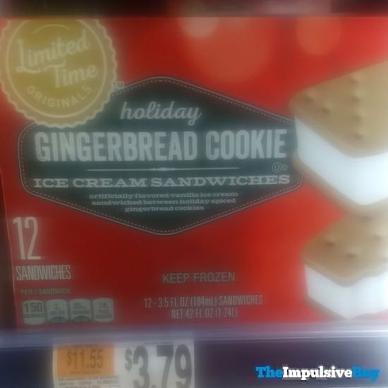 Giant Limited Time Originals Holiday Gingerbread Cookie Ice Cream Sandwiches