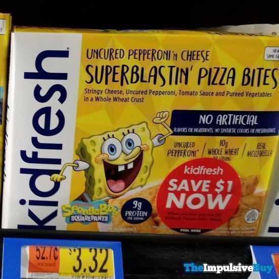 KidFresh Spongebob Squarepants Uncured Pepperoni n Cheese Superblastin Pizza Bites
