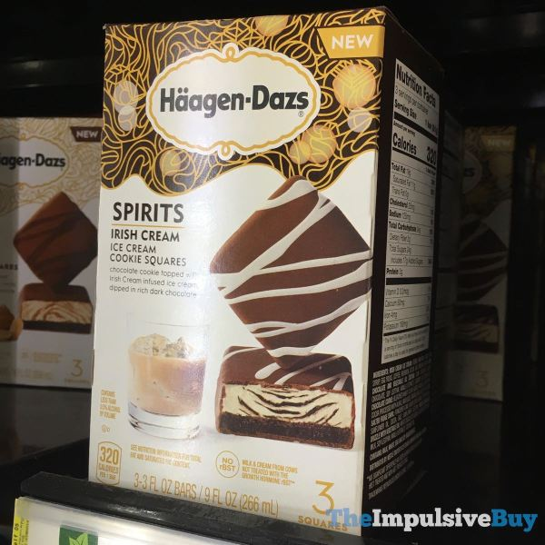 Haagen Dazs Spirits Irish Cream Ice Cream Cookie Squares