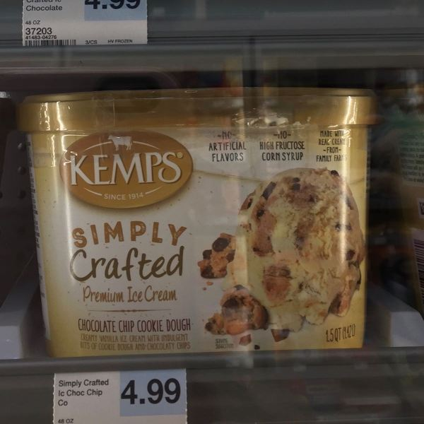Kemps Simply Crafted Chocolate Chip Cookie Dough Ice Cream