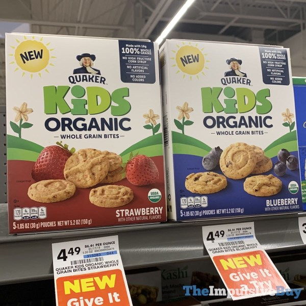 Quaker Kids Organic Whole Grain Bites  Strawberry and Blueberry