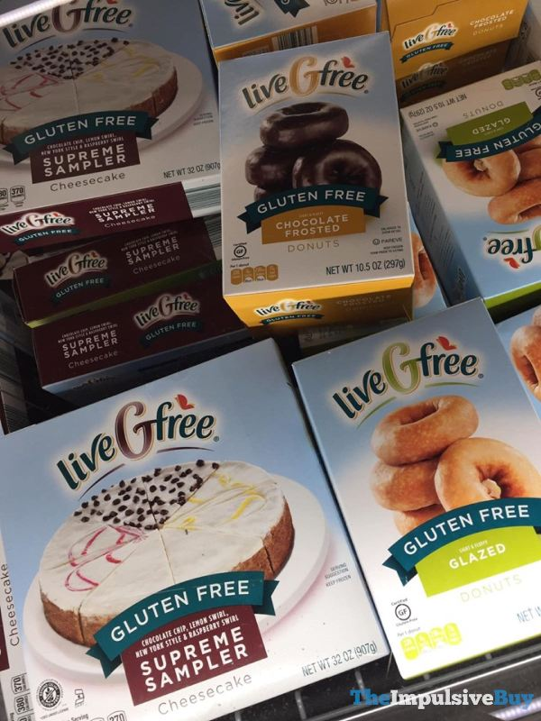 Aldi liveGfree Gluten Free Chocolate Frosted Donuts Glazed Donuts and Supreme Cheesecake Sampler