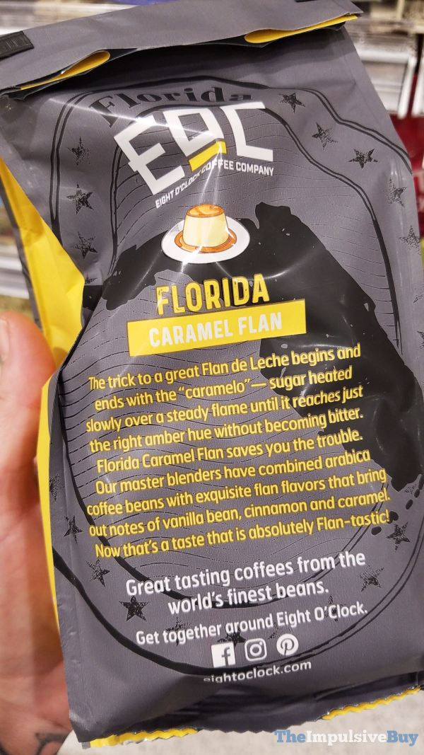 Eight O Clock Coffee Company Caramel Flan Coffee Back of Bag