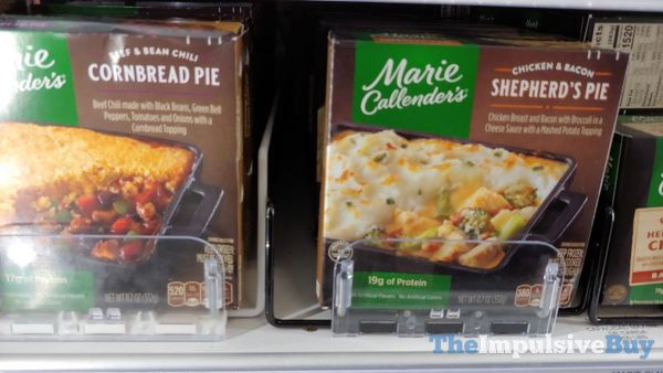 Marie Callender s Chicken  Bacon Shepherd s Pie and Beef  Bean Chili Cornbread Pie