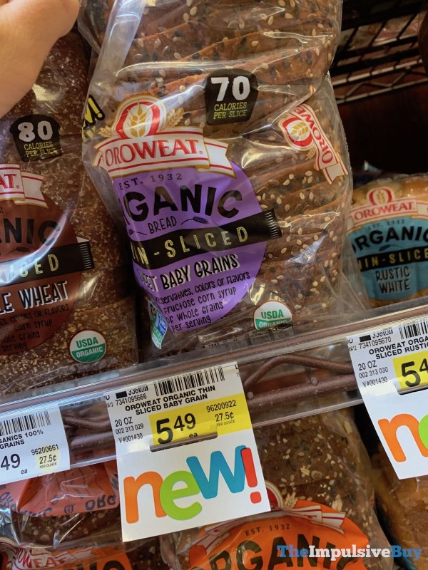 Oroweat Organic Thin Sliced Sweet Baby Grains Bread