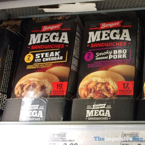 Banquet Mega Sandwiches  Steak and Cheddar and Smoky BBQ Seasoned Pork