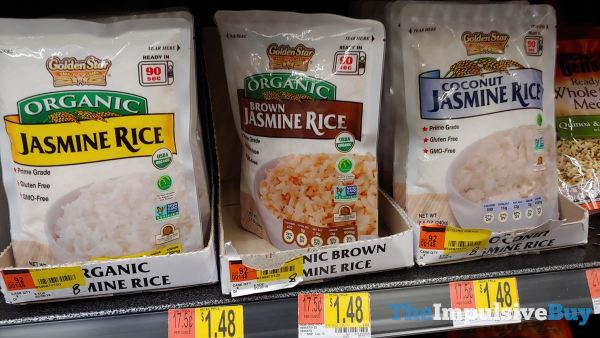 Golden Star Organic Jasmine Rice Brown Jasmine Rice and Coconut Jasmine Rice Pouches