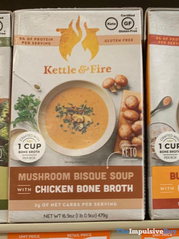 Kettle  Fire Mushroom Bisque Soup with Chicken Bone Broth