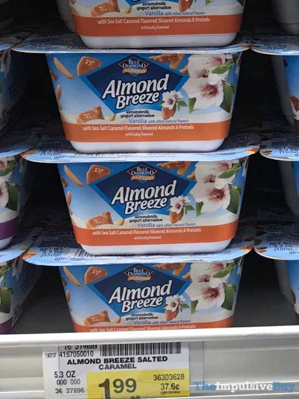 Blue Diamond Almond Breeze Almondmilk Yogurt Alternative with Sea Salt Caramel Flavored Slivered Almonds  Pretzels